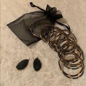 Black & Dark Gray Bangles Set of 20 PLUS Earrings